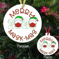 Merry MaskMas 2020- zero's have amsks and santa hats. ornaments personalized on 2nd side. Available on both porcelain and plastic Christmas ornaments.
