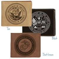 Engraved Military Theme Wallets in Tan, Black and Dark Brown