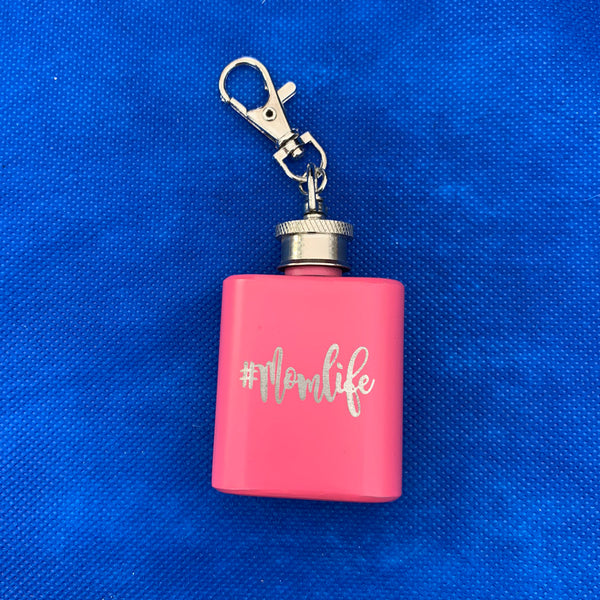 hashtag mom life on pink key flask