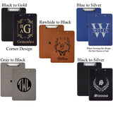 Leather Clipboards in Black, Blue, Rawhide and Gray Vegan Leatherette with your choice of monograms