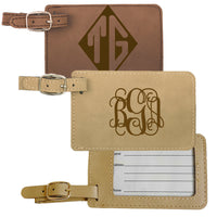 Luggage Tags monogrammed with your initials on vegan leather