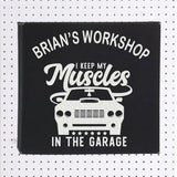 Muscle Car Wall Sign Black Vegan Leather