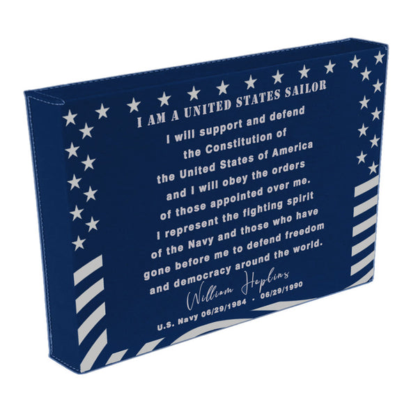 "Sailor's Creed on a Blue Vegan Leather 12"" x 18"" wall sign Personalized with name and dates"