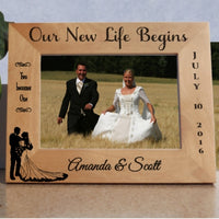 Our New Life Begins Wood Bridal Picture Frame Personalized for Wide Wedding Pictures