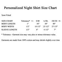 Size chart for night shirts