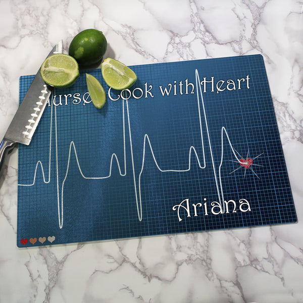 ekg line with heart at the end cutting board