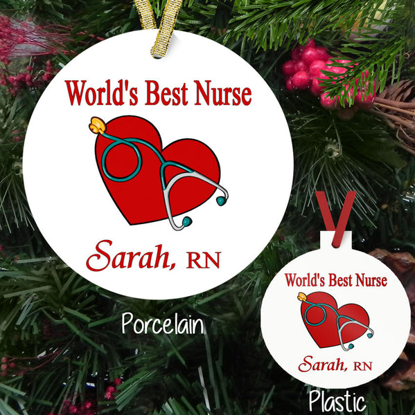 Heart and Stethoscope custom ornaments both plastic and porcelain available with your personalized text in two areas.