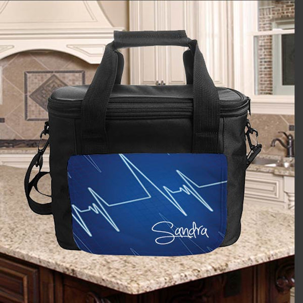 Lunch cooler tote with design on front flap