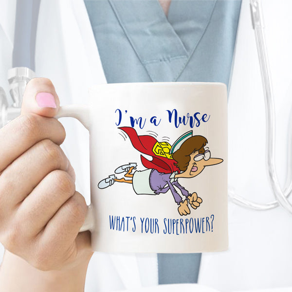 I'm a nurse flying superhero design mug