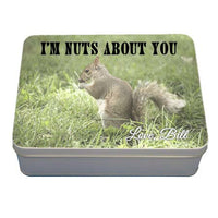 gift tin with squirrel saying I'm nuts about you is great for your significant other
