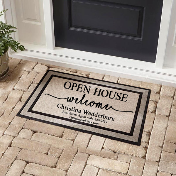 Traffic Master Open House Welcome Doormat 18 x 30 with 3 lines of Real Estate Agents Contact Info