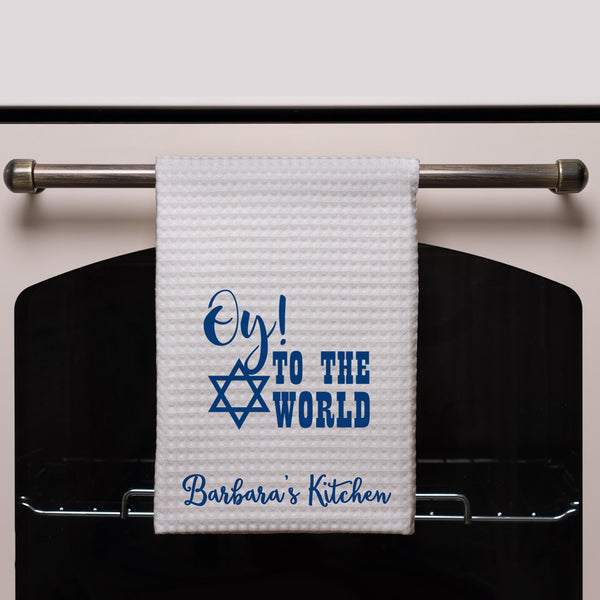 "Oy to the world funny Hanukkah Kitchen Towel Personalized with any text -16"" x 24"" Waffle Weave Towel"