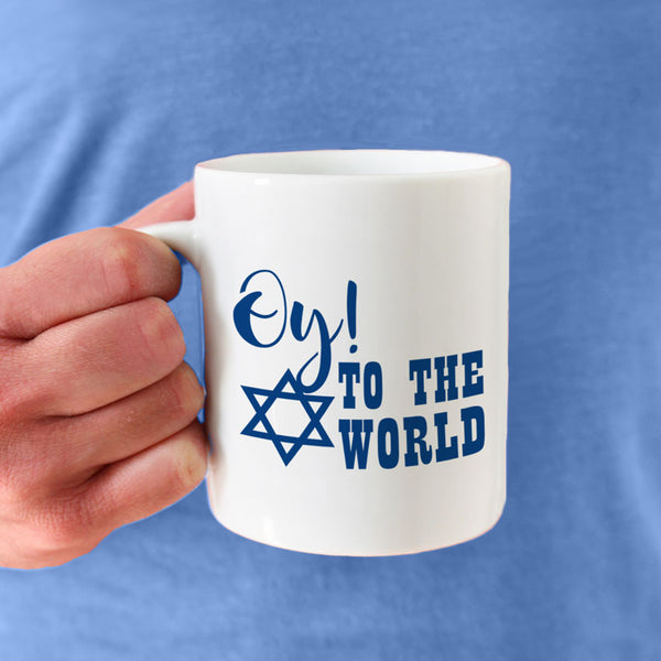 Oy To The World with Jewish Star Funny Coffee Mug Personalized on the second side
