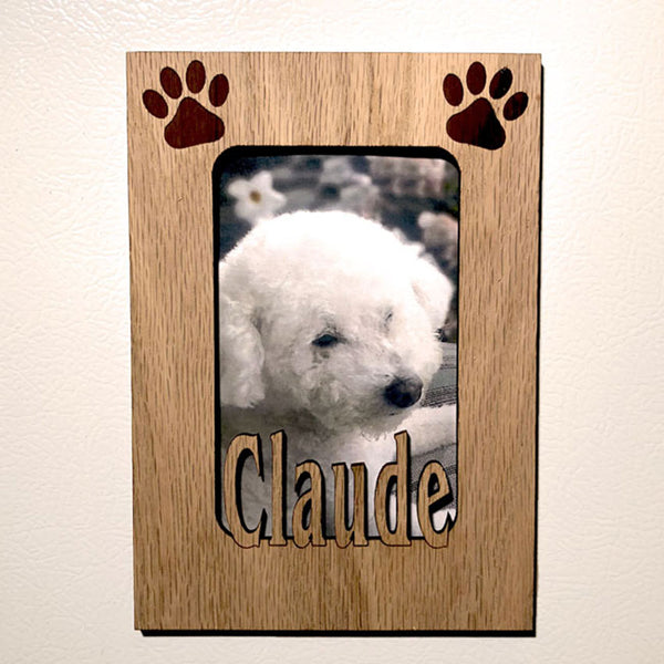 Name Mat with Dog Paw Prints and Cut Out Pet Name