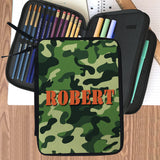 pencil case folder had 2 zippered areas revealing 4 compartments for pencils, markers, erasers and more. Front cover is personalized with a unicorn (real horse hooking with green camouflage design and any name.