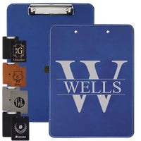 blue leather clipboard along with other colors engraved with your initial and name