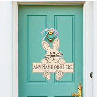 Easter Bunny Wood Door Sign With Any Name Or Number