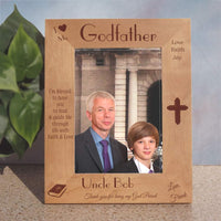 Personalized Godparents picture frame for tall photos