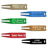 Golf Divot Tools in 6 colors personalization is frosty white. custom laser engraved with 1-2 lines oftext