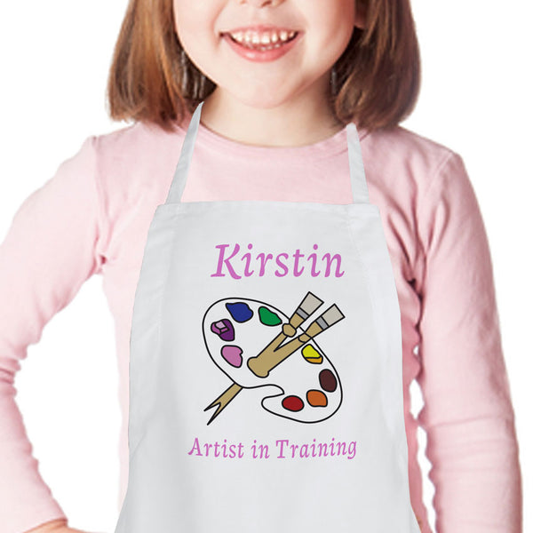 little girls artist apron with palette and text in pink