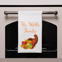 Cornucopia Design and Your Personalization on a White Waffle Weave Kitchen Towel