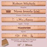 Maple Rulers showing different forms of personalization and insigneas