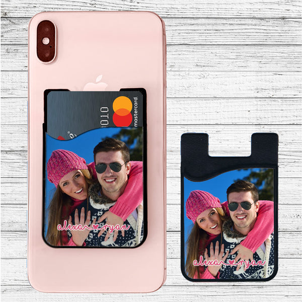 Phone Credit Card Holder with adhesive Back and Your Photo and Text