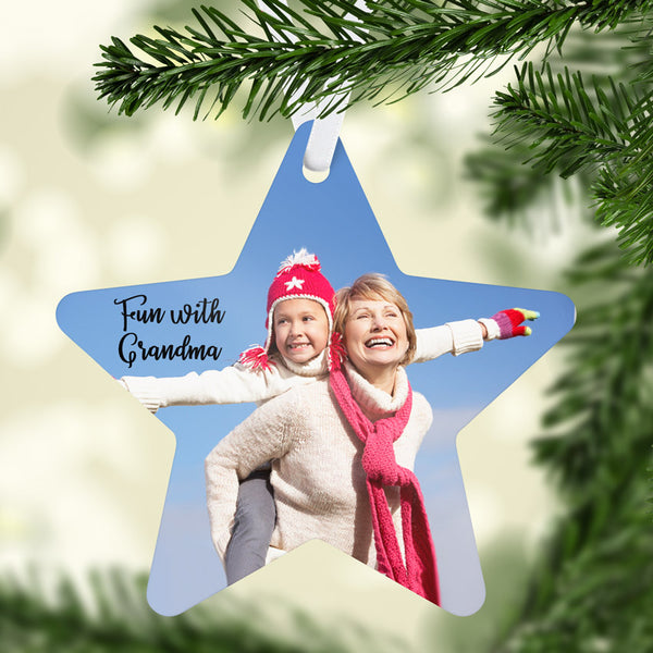 Star ornament with a photo of child and grandparent. Send uncropped photos where the people are close together.