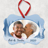 couple's photo in tree lined benelux shaped ornament