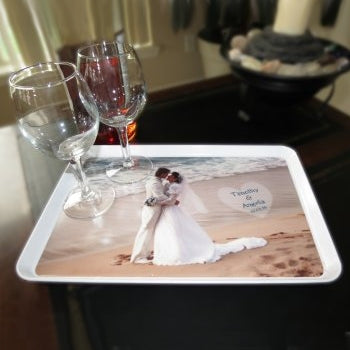 your wedding photo is great on a serving tray