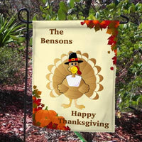 Pilgrim Turkey Welcome Yard Flag with personalized text on top and bottom