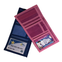 pink and blue wallets have a clear slot for your id along with several credit card slots and bill compartment
