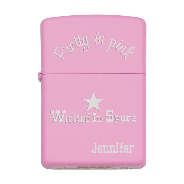 Pretty in Pink, Wicketdi n Spurs with a Star on a pink zippo lighter and any name on the bottom right