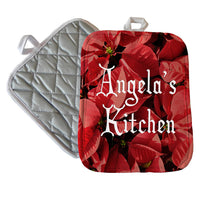 "Poinsettia backdrop to any text on a custom 7"" x 9"" personalized pot holder"
