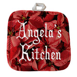 "Poinsettia backdrop to any text on a custom 8"" x 8"" personalized pot holder"