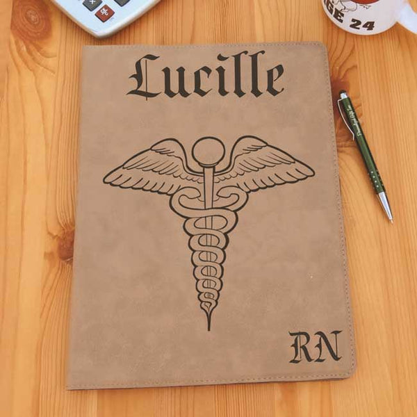 Custom Tan Caduceus Portfolio with name centered on top and credentials on bottom right