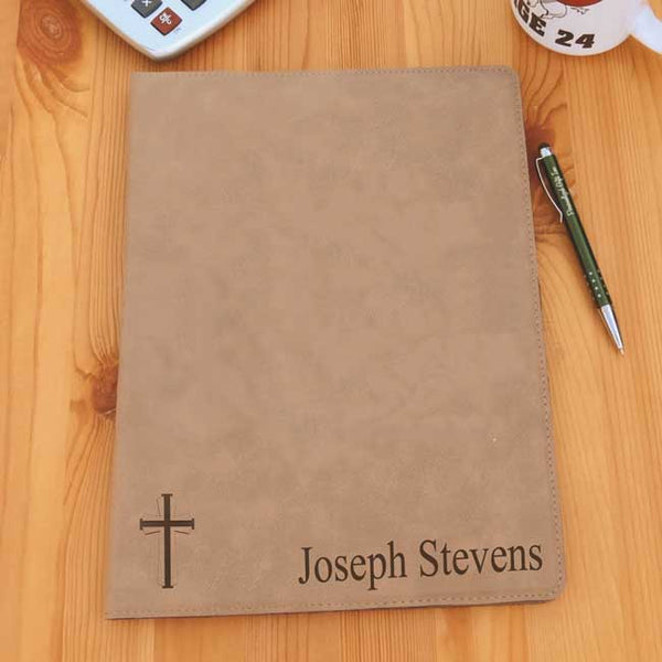 Portfolio engraved with cross design and any custom text.