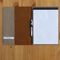 Open view of portfolio pad cover with legal pad, pen holder, business card holder and sided pocket to slip in loose papers