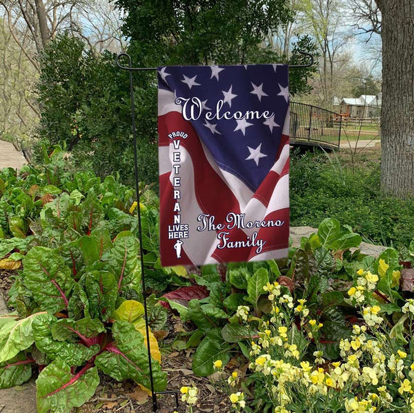 Proud Veteran Lives Here Personalized USA Flag Yard Flags