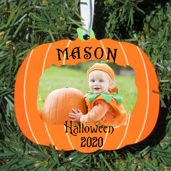 Pumpkin Halloween Christmas Ornament With Your Photo