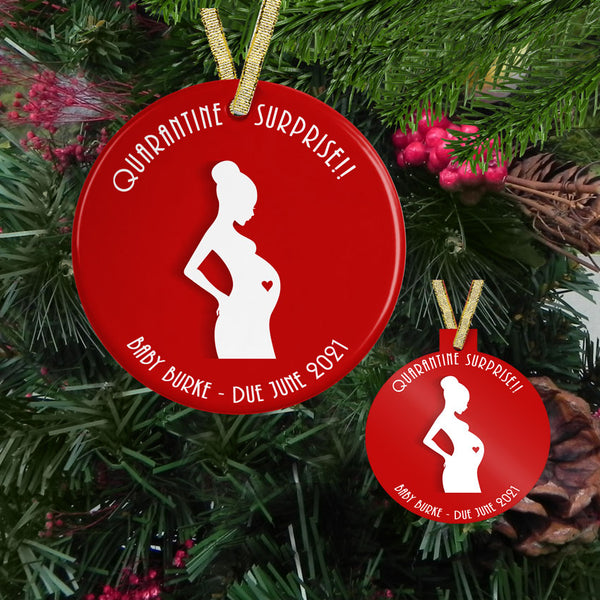 Quarantine Surprise Funny Pregnant Personalized Christmas Ornament