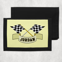 crossed racing flags with any name personalized on a custom kids wallet.