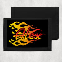 black background with gradient orange, red and yellow racing flames and any name on a nylon trifold wallet