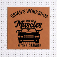 Muscle Car Wall Sign Rawhide Vegan Leather