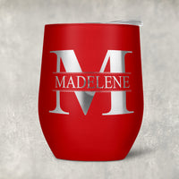 Your name inside an initial wine tumbler