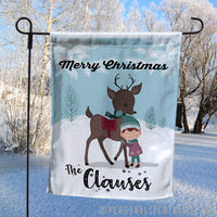 Elf and Reindeer Winter Scene on a custom garden flag with your name and custom message on top and bottom.