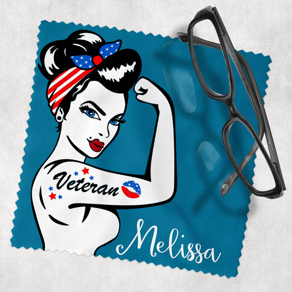 Rosie the Riveter Inspired Female Veterans Eye Glass Cleaning Cloth
