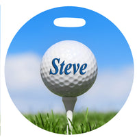 4 inch round Golf Bag Tag with tee and ball in grass and blue sky Any Name on side 1