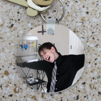 round photo key chain with your picture on side 1 and text on side 2