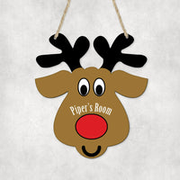 Reindeer kid's room door sign with name  nose in center with mouth on bottom 1 line of text for name's room